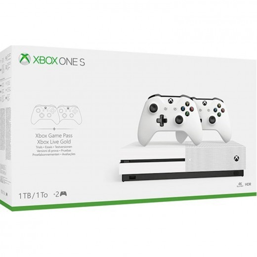 Microsoft Xbox One S White 1TB 2 controllers